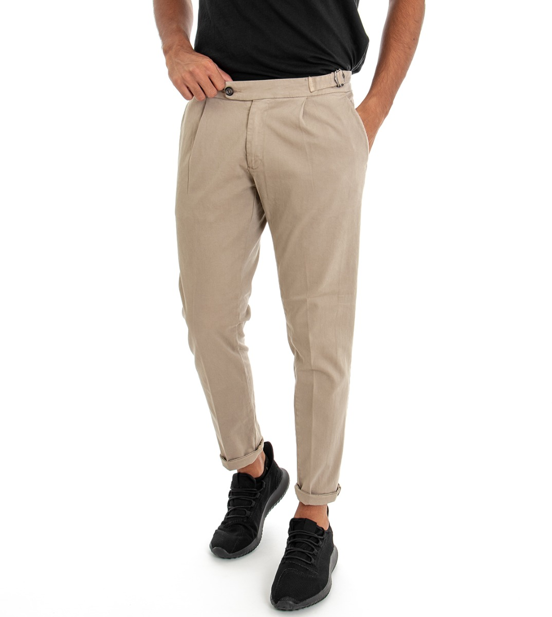 Pantalone Tasca America Uomo Con Pence Tinta Unita Beige Regular Fit GIOSAL