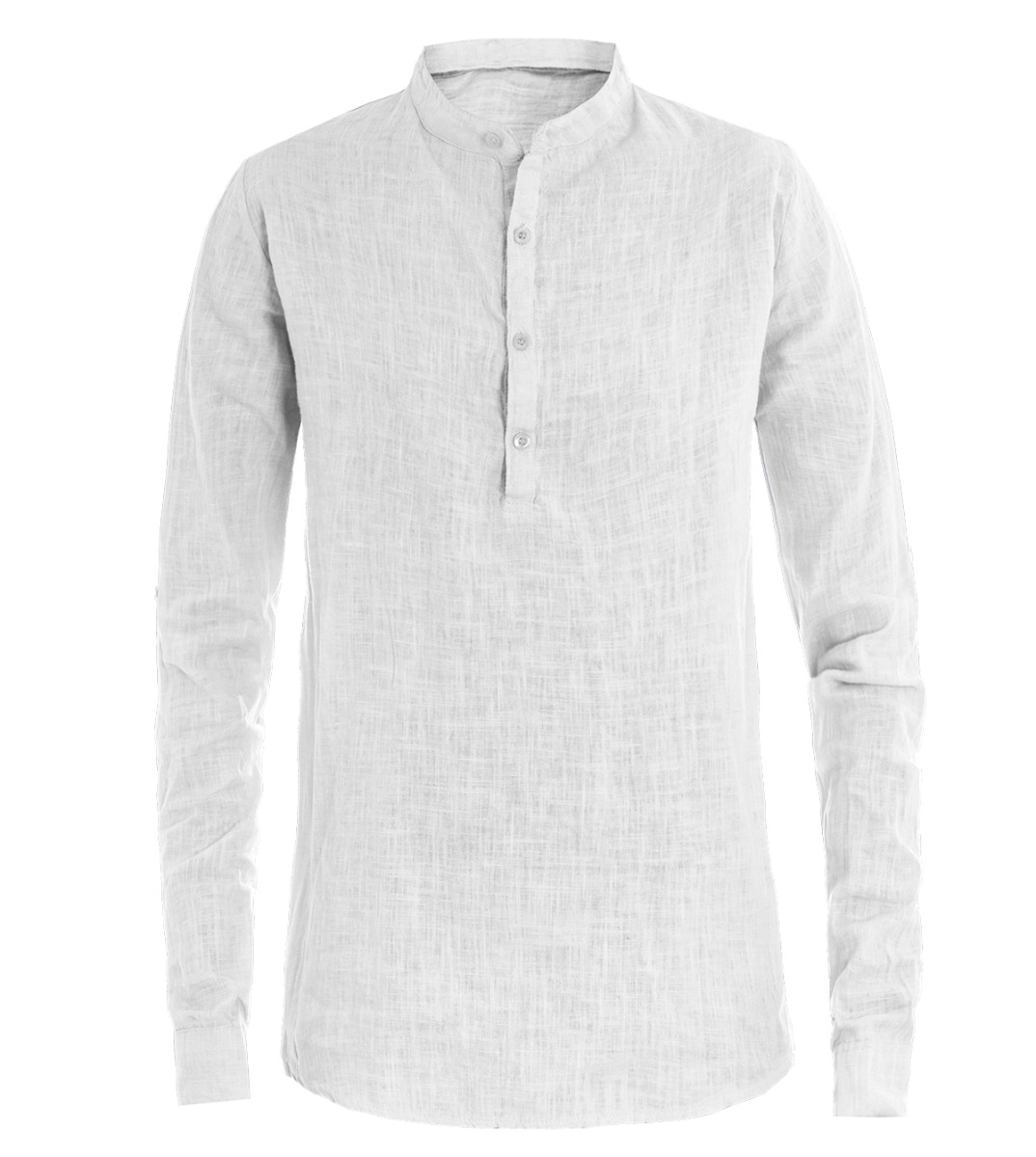 Camicia-Uomo-Puro-Lino-Collo-Coreano-Tinta-Unita-Bianca-Manica-Lunga-Casual-G
