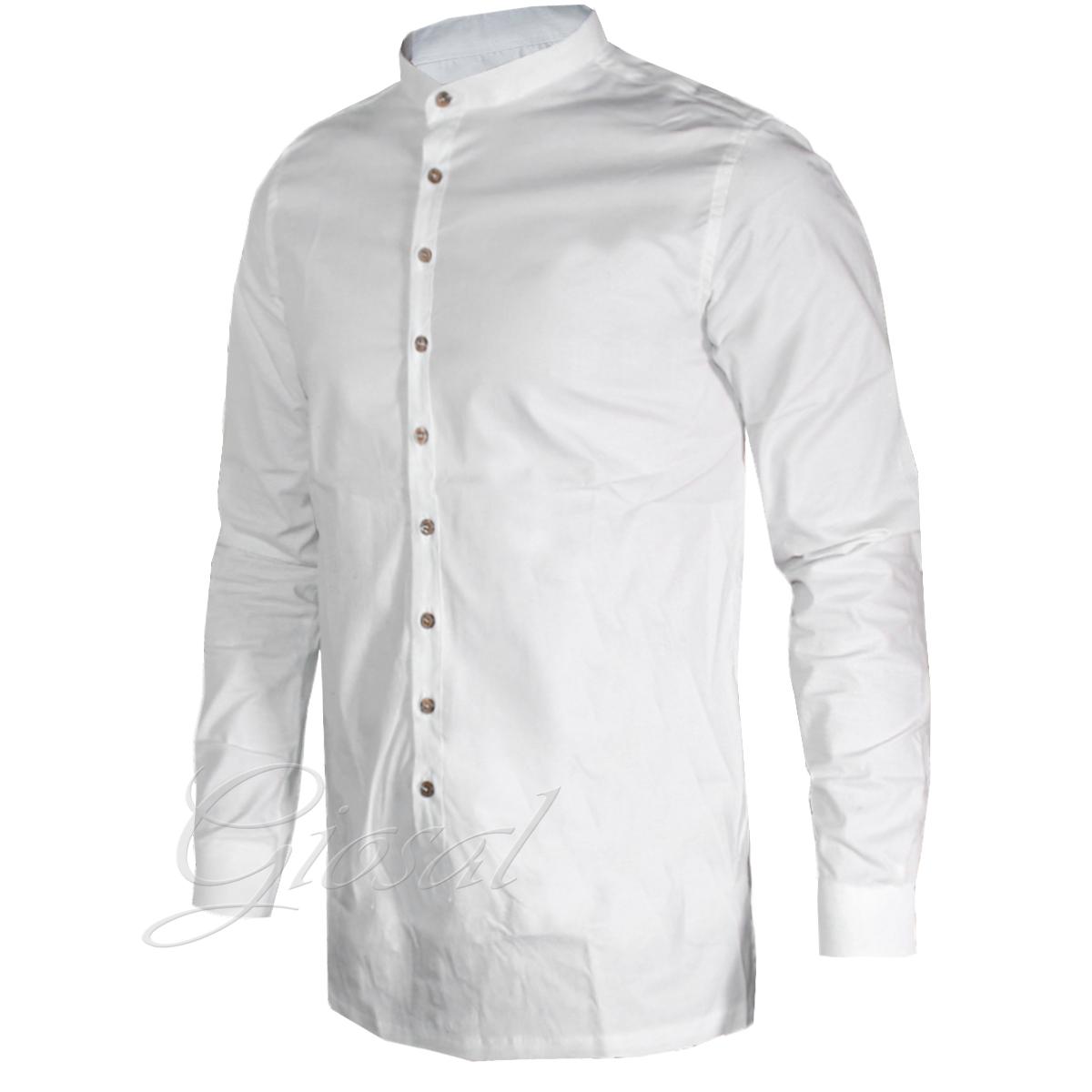 Camicia-Uomo-Over-D-Bottoni-Collo-Coreano-Tinta-Unita-Vari-Colori-Casual-GIOSAL miniatura 8