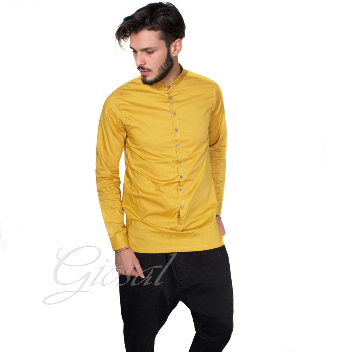 Camicia-Uomo-Over-D-Bottoni-Collo-Coreano-Tinta-Unita-Vari-Colori-Casual-GIOSAL miniatura 3