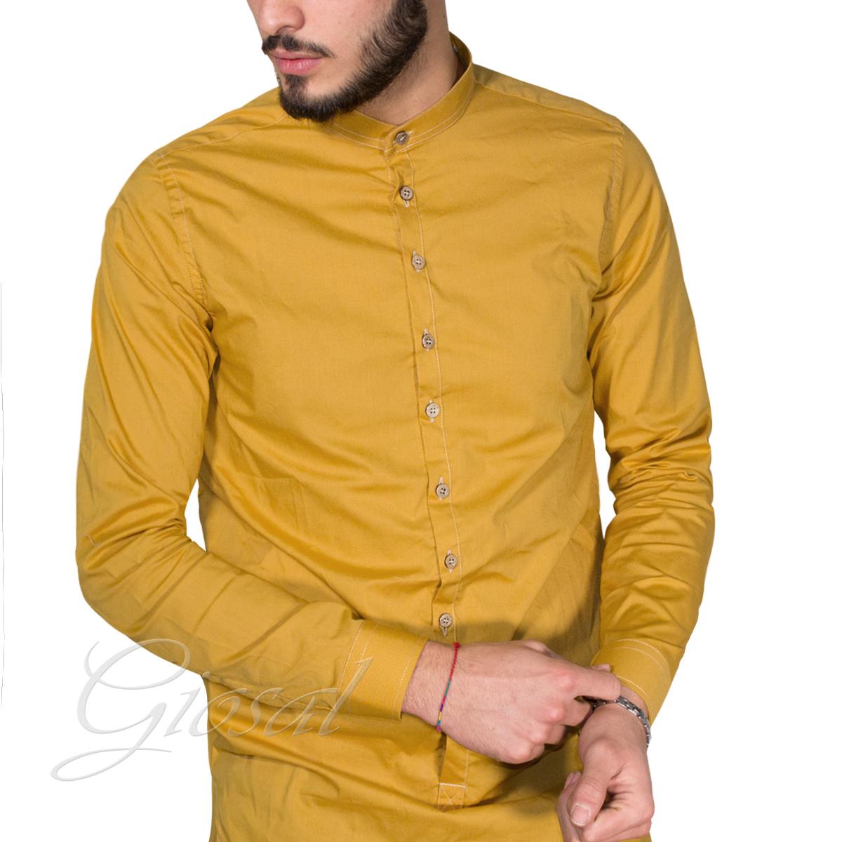 Camicia-Uomo-Over-D-Bottoni-Collo-Coreano-Tinta-Unita-Vari-Colori-Casual-GIOSAL miniatura 4