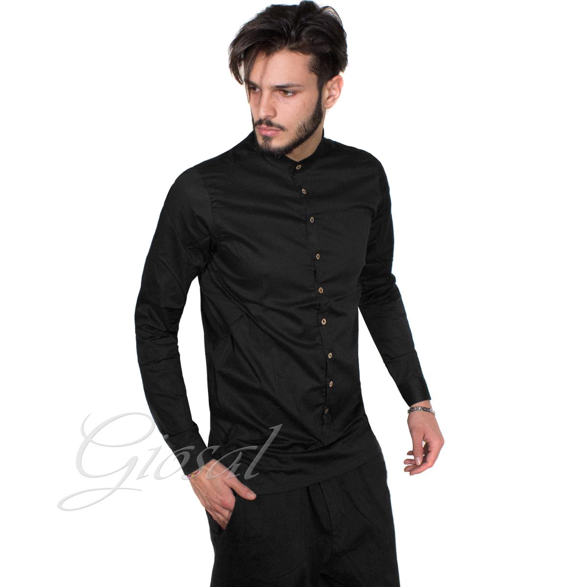 Camicia-Uomo-Over-D-Bottoni-Collo-Coreano-Tinta-Unita-Vari-Colori-Casual-GIOSAL miniatura 6