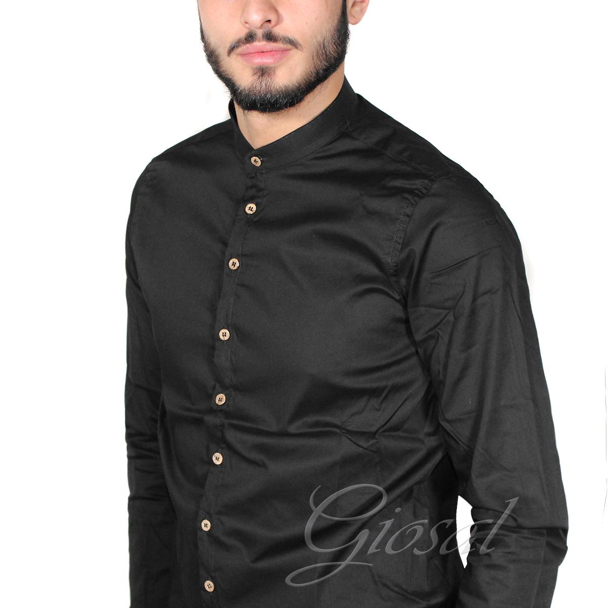 Camicia-Uomo-Over-D-Bottoni-Collo-Coreano-Tinta-Unita-Vari-Colori-Casual-GIOSAL miniatura 7