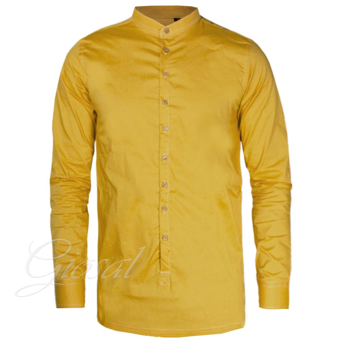 Camicia-Uomo-Over-D-Bottoni-Collo-Coreano-Tinta-Unita-Vari-Colori-Casual-GIOSAL miniatura 2