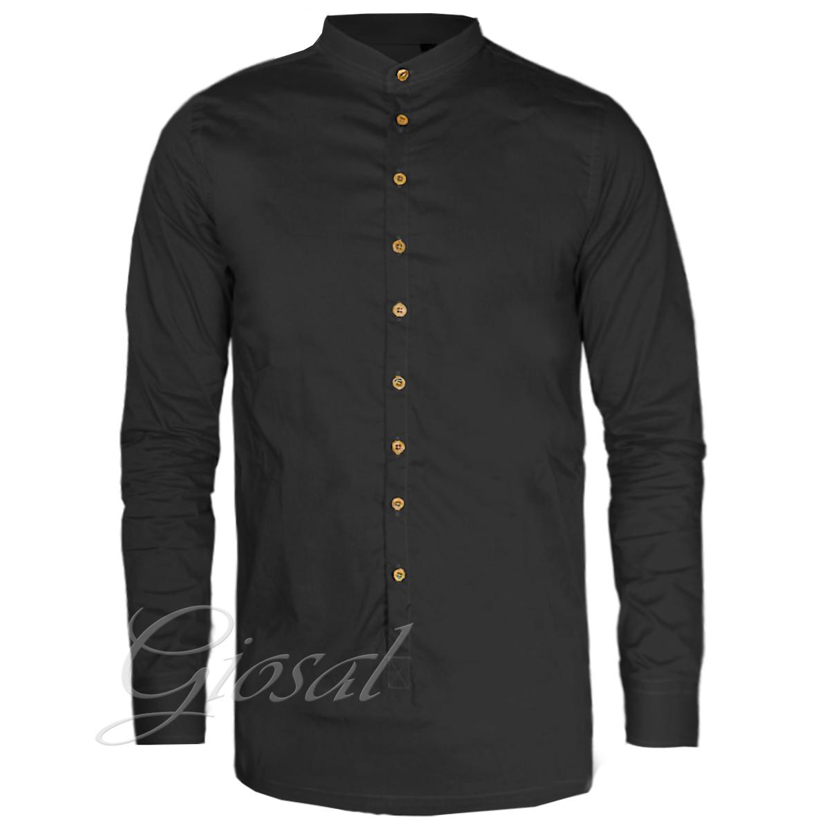 Camicia-Uomo-Over-D-Bottoni-Collo-Coreano-Tinta-Unita-Vari-Colori-Casual-GIOSAL miniatura 5