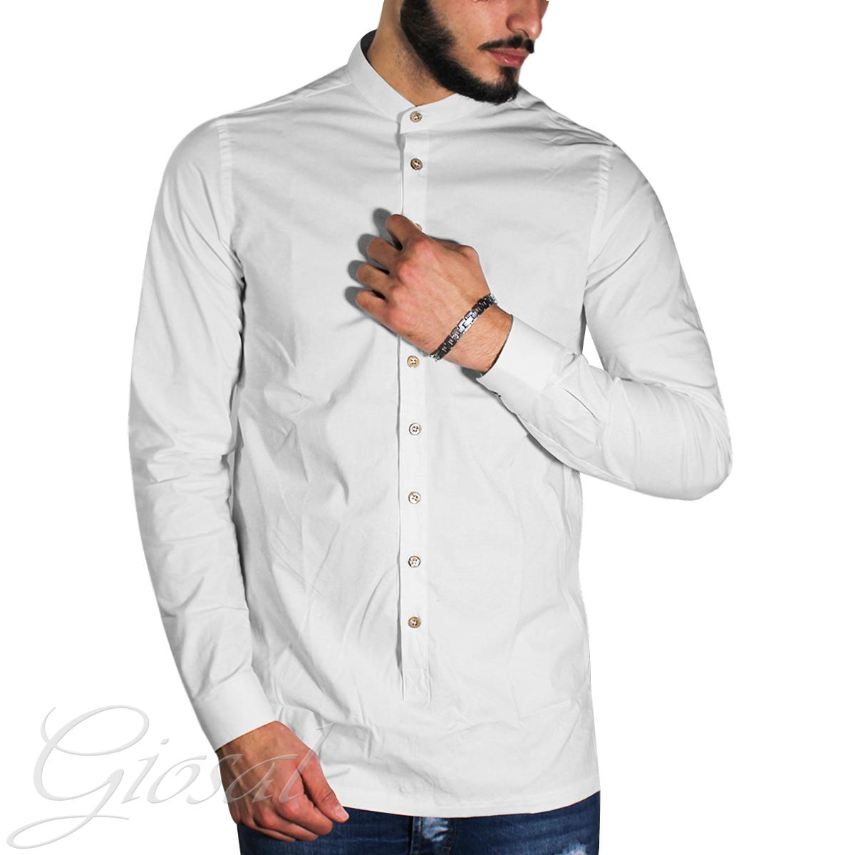 Camicia-Uomo-Over-D-Bottoni-Collo-Coreano-Tinta-Unita-Vari-Colori-Casual-GIOSAL miniatura 10