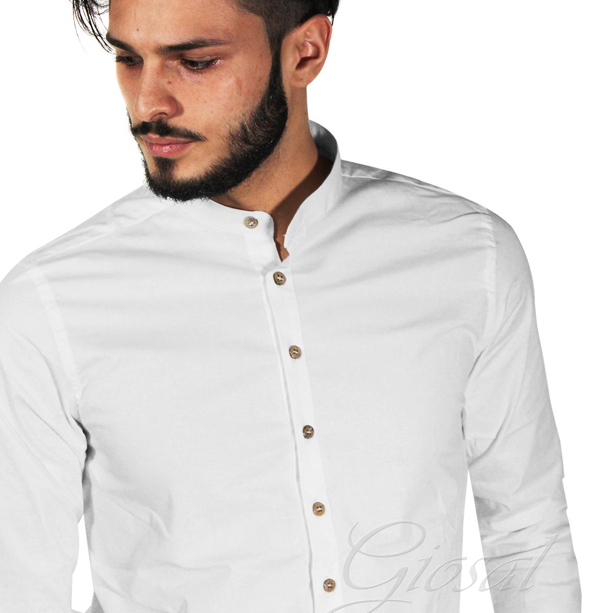 Camicia-Uomo-Over-D-Bottoni-Collo-Coreano-Tinta-Unita-Vari-Colori-Casual-GIOSAL miniatura 11