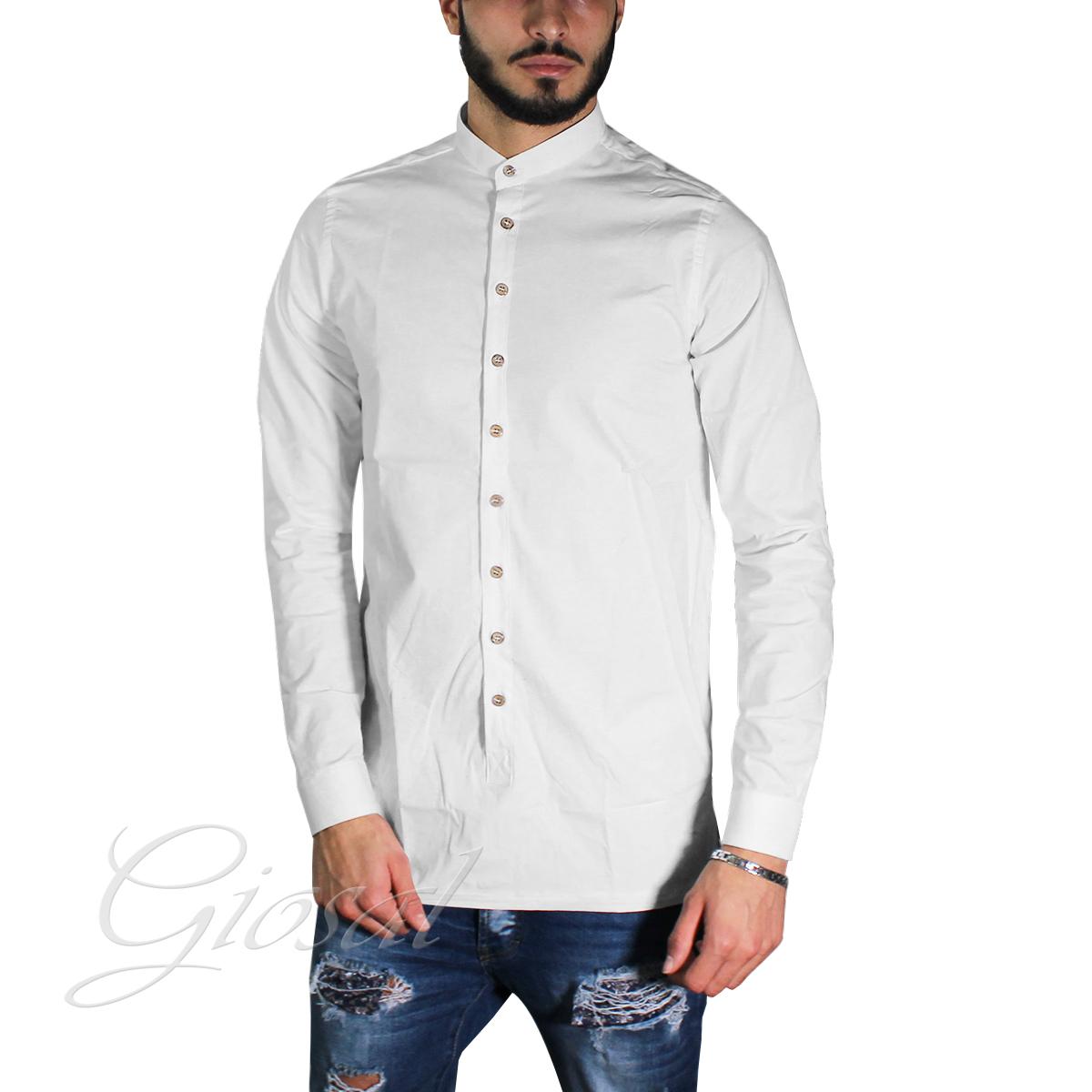 Camicia-Uomo-Over-D-Bottoni-Collo-Coreano-Tinta-Unita-Vari-Colori-Casual-GIOSAL miniatura 9