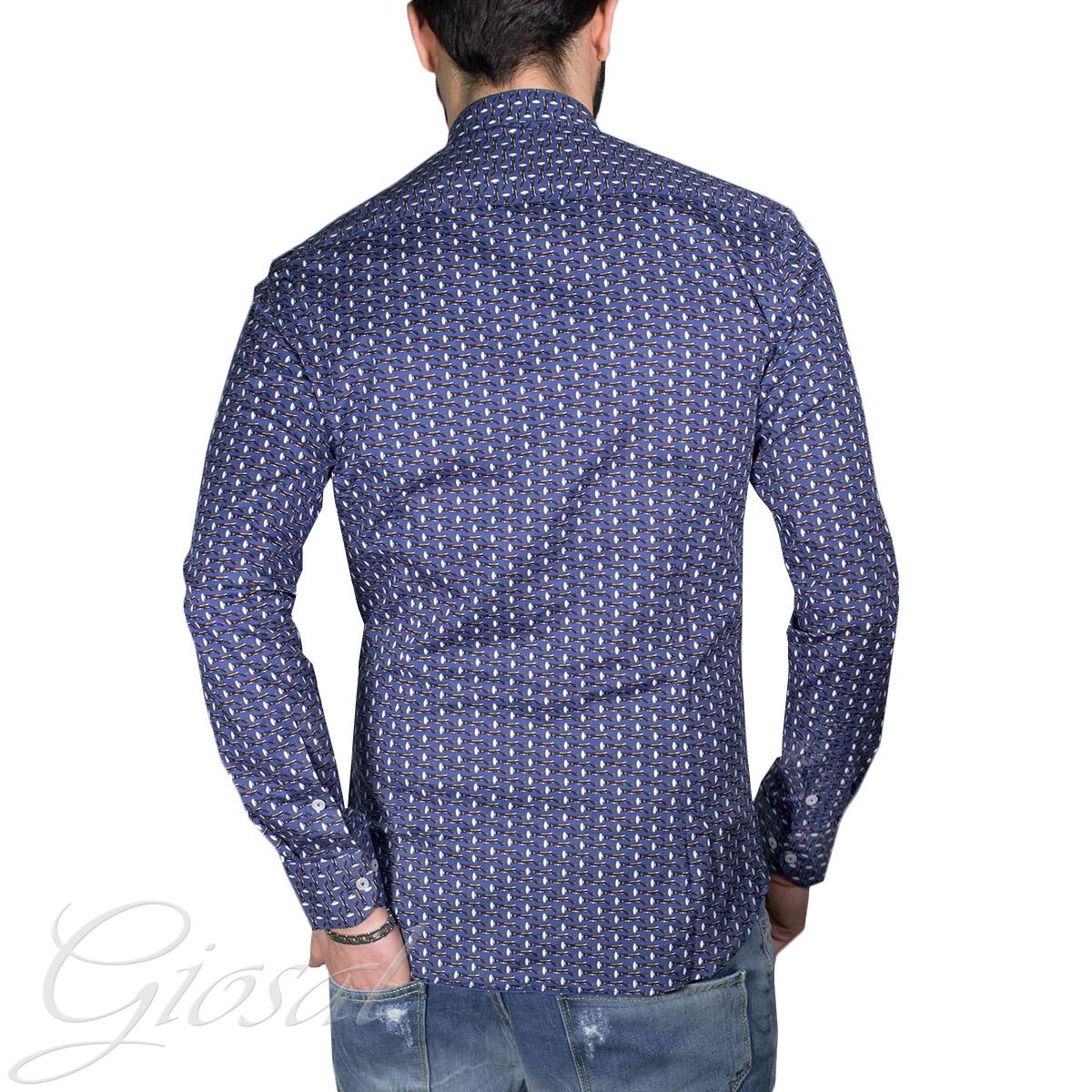 Camicia-Uomo-Collo-Coreano-Aeroplani-Bottoni-Manica-Lunga-Slim-Alfio-GIOSAL miniatura 3