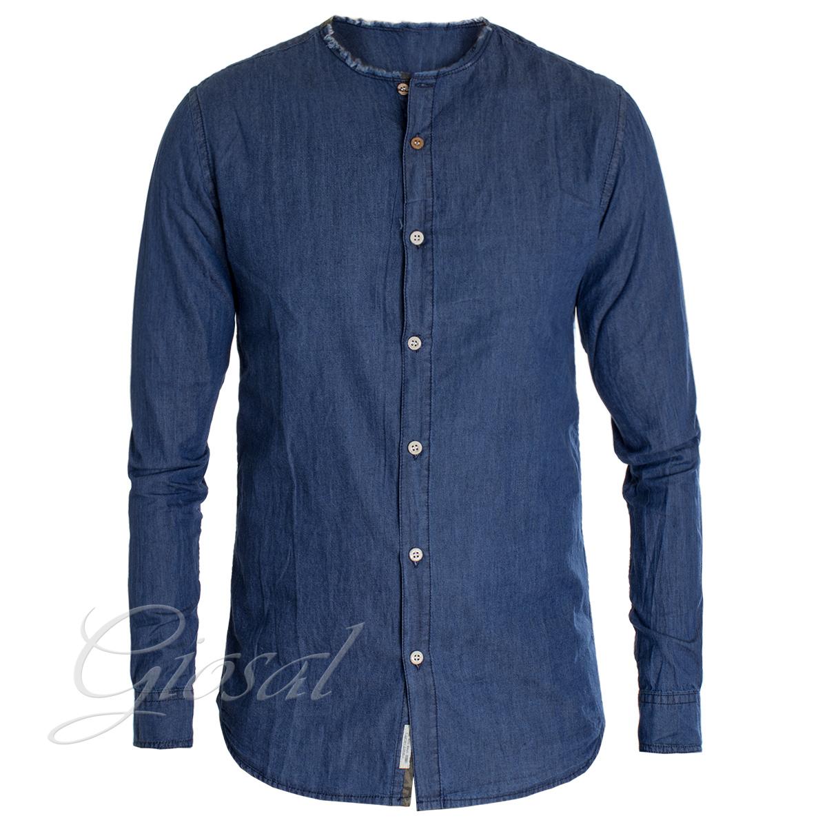 Camicia-Uomo-Jeans-Denim-Collo-Coreano-Sfrangiato-Primaverile-Casual-GIOSAL