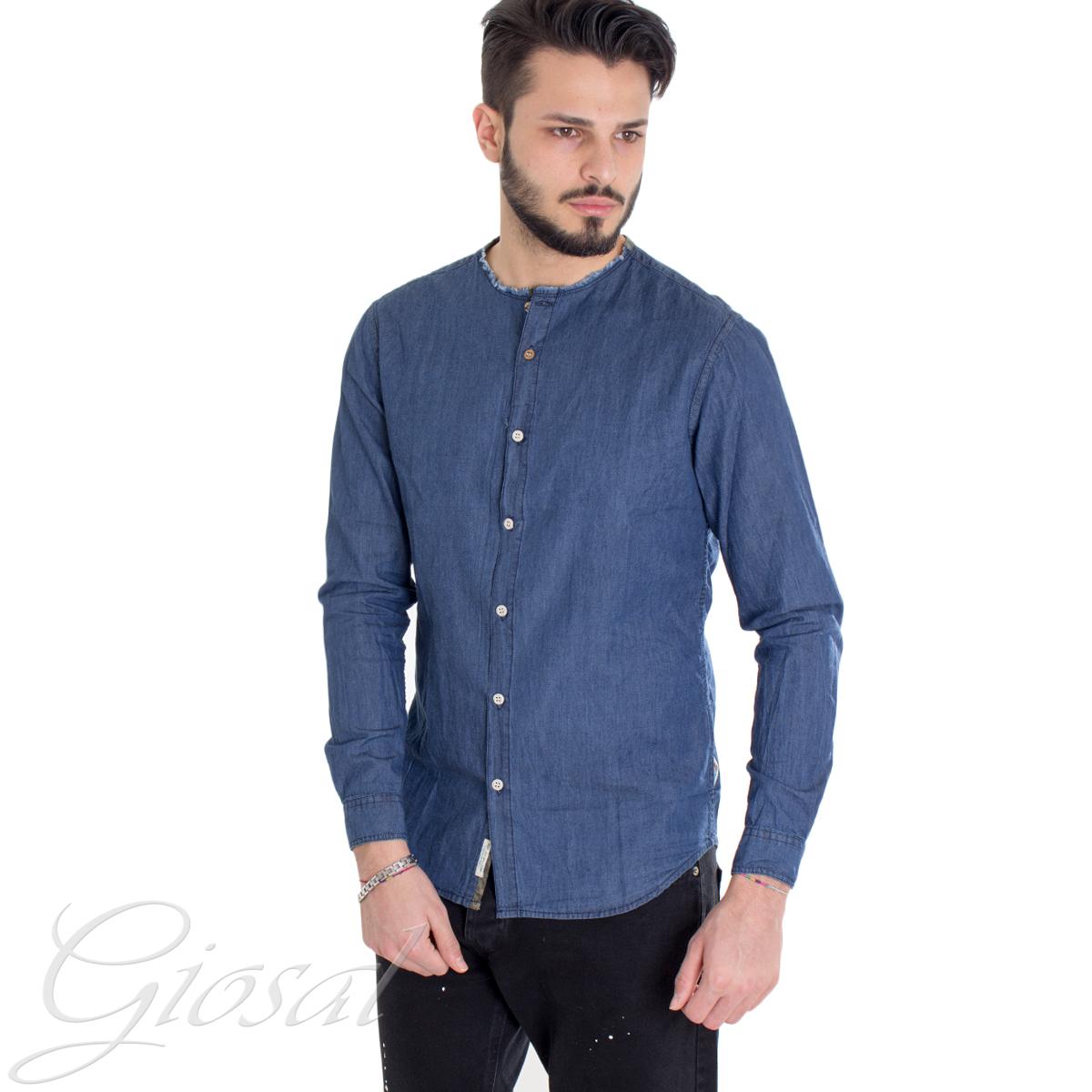 Camicia-Uomo-Jeans-Denim-Collo-Coreano-Sfrangiato-Primaverile-Casual-GIOSAL miniatura 2