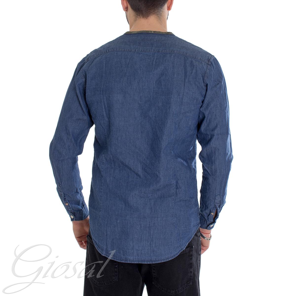 Camicia-Uomo-Jeans-Denim-Collo-Coreano-Sfrangiato-Primaverile-Casual-GIOSAL miniatura 3