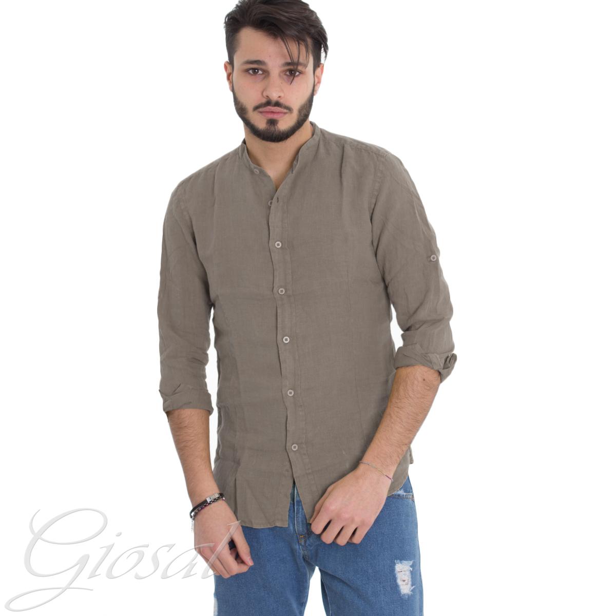 Camicia-Uomo-Collo-Coreano-Tinta-Unita-Fango-Lino-Maniche-Lunghe-Casual-GIOSAL miniatura 7