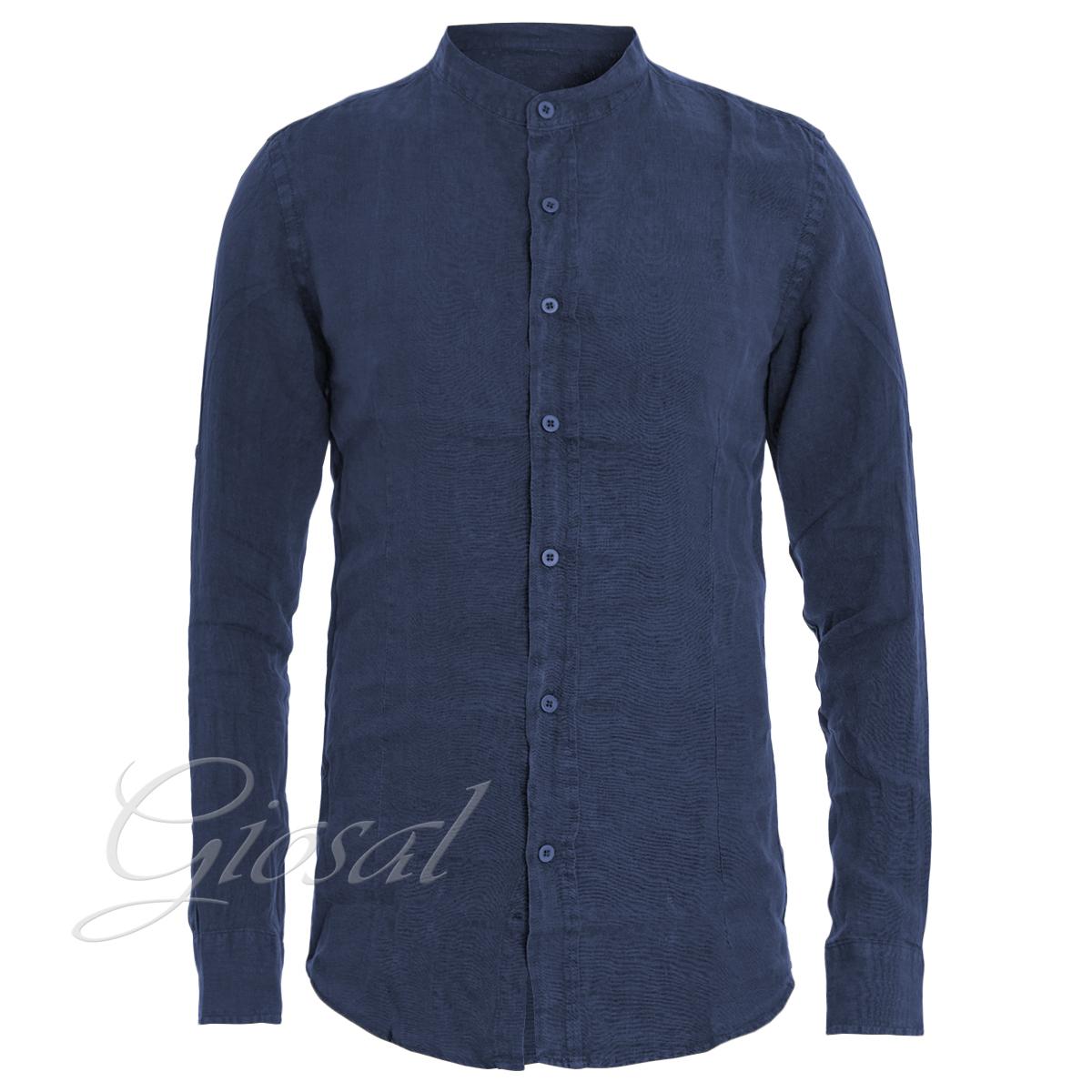 Camicia-Uomo-Collo-Coreano-Tinta-Unita-Blu-Lino-Maniche-Lunghe-Casual-GIOSAL miniatura 5