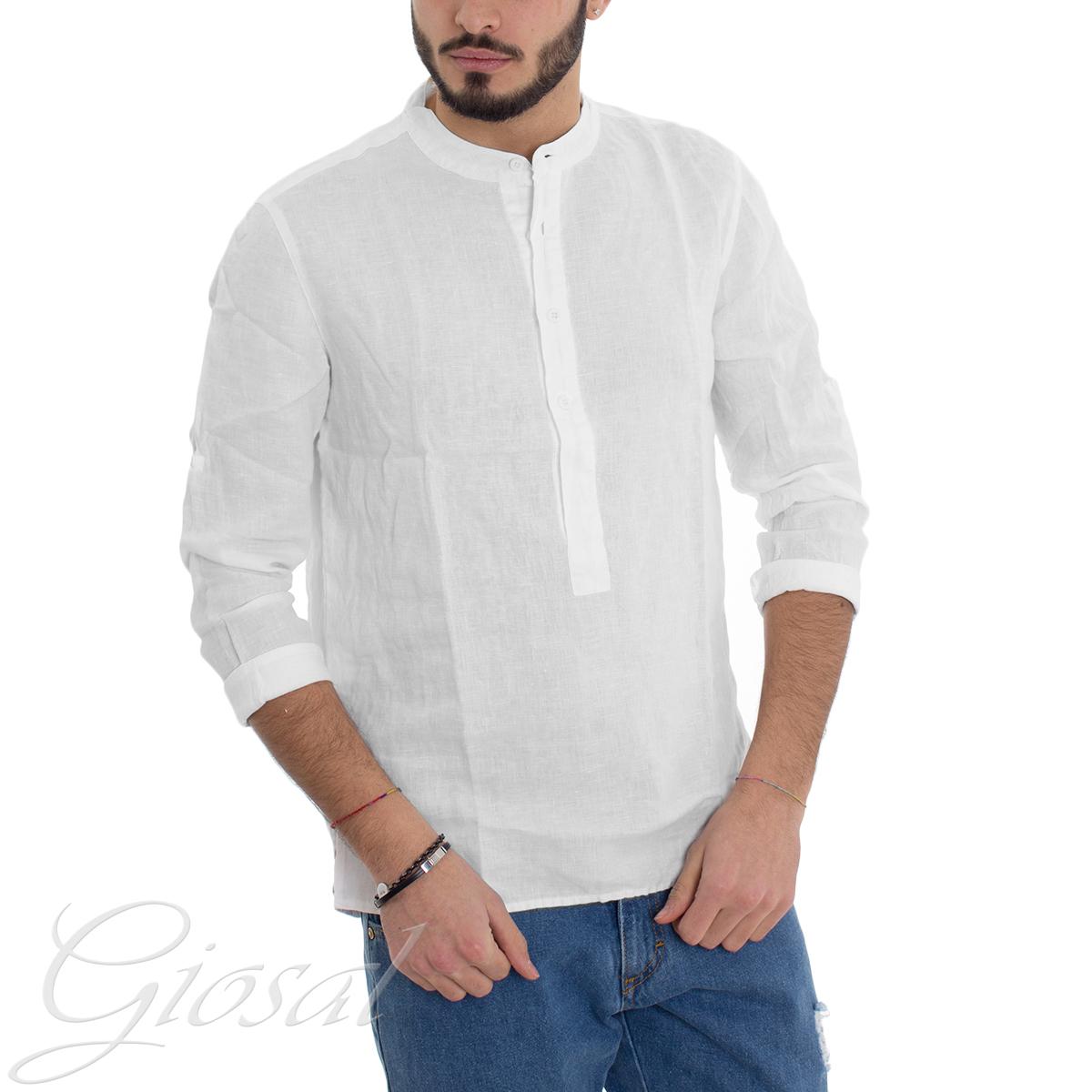 Camicia-Uomo-Puro-Lino-Collo-Coreano-Tinta-Unita-Bianca-Manica-Lunga-Casual-G miniatura 2