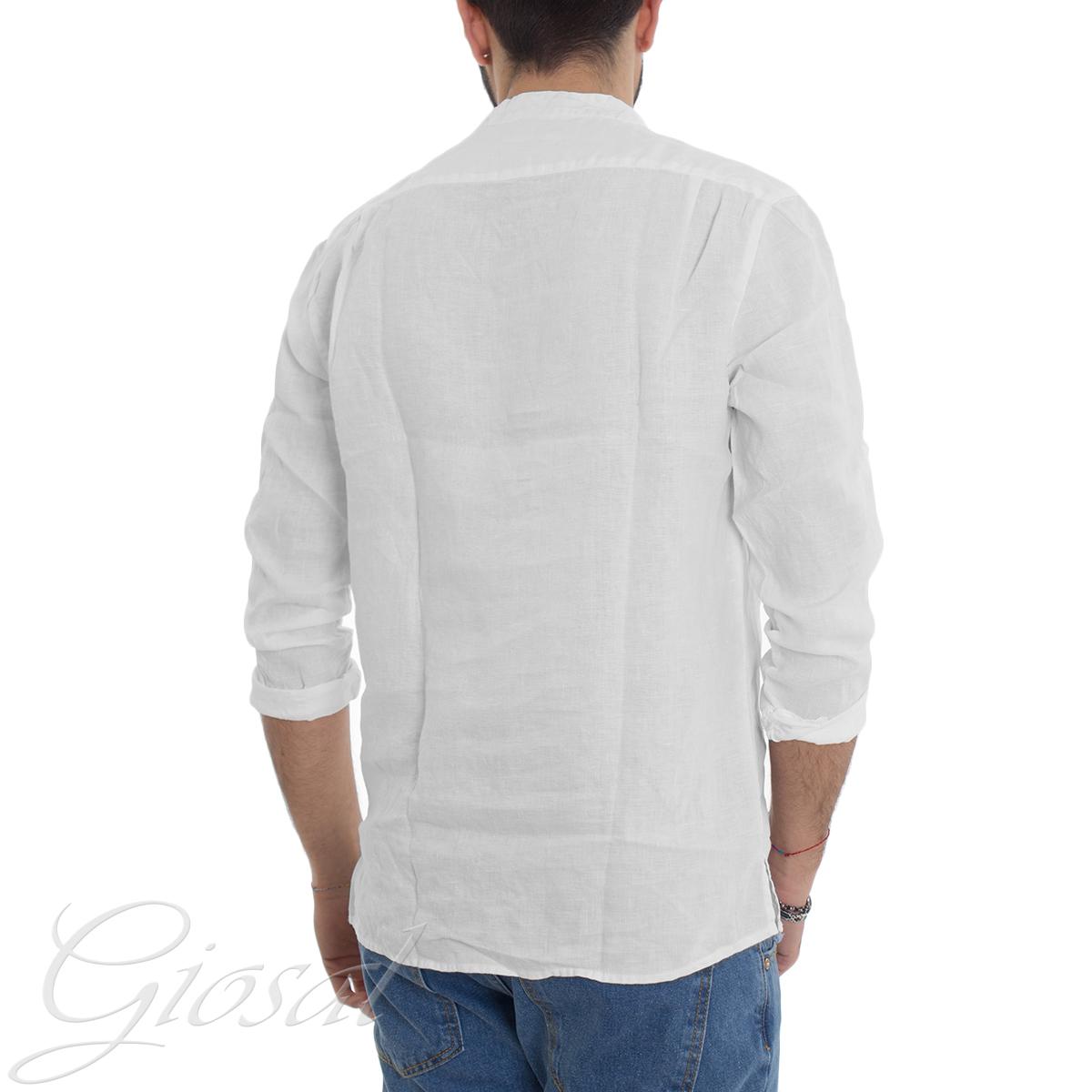 Camicia-Uomo-Puro-Lino-Collo-Coreano-Tinta-Unita-Bianca-Manica-Lunga-Casual-G miniatura 4