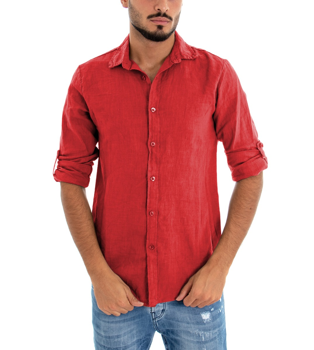 Camicia-Uomo-Lino-Maniche-Lunghe-Colletto-Tinta-Unita-Rossa-GIOSAL miniatura 3