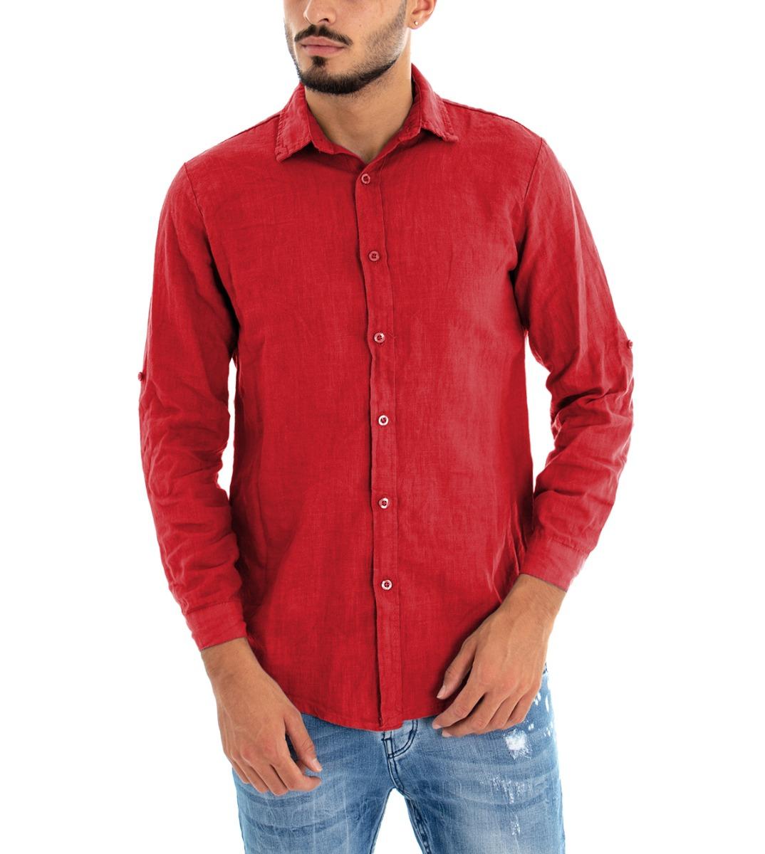 Camicia-Uomo-Lino-Maniche-Lunghe-Colletto-Tinta-Unita-Rossa-GIOSAL miniatura 2