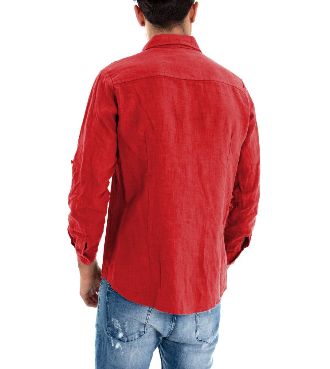Camicia-Uomo-Lino-Maniche-Lunghe-Colletto-Tinta-Unita-Rossa-GIOSAL miniatura 6