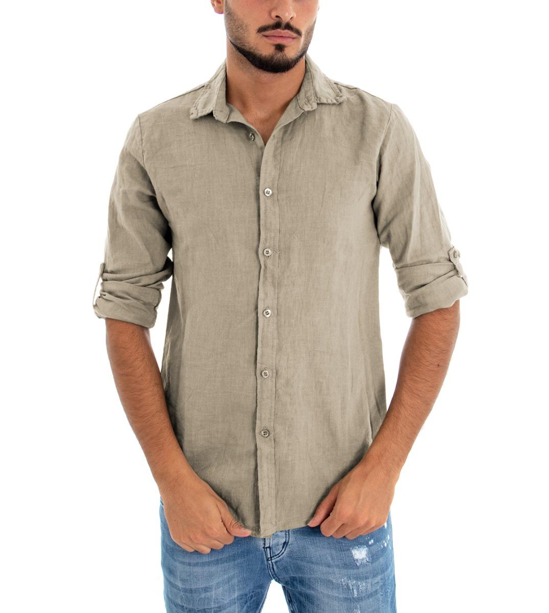 Camicia-Uomo-Lino-Maniche-Lunghe-Colletto-Tinta-Unita-Beige-GIOSAL miniatura 3