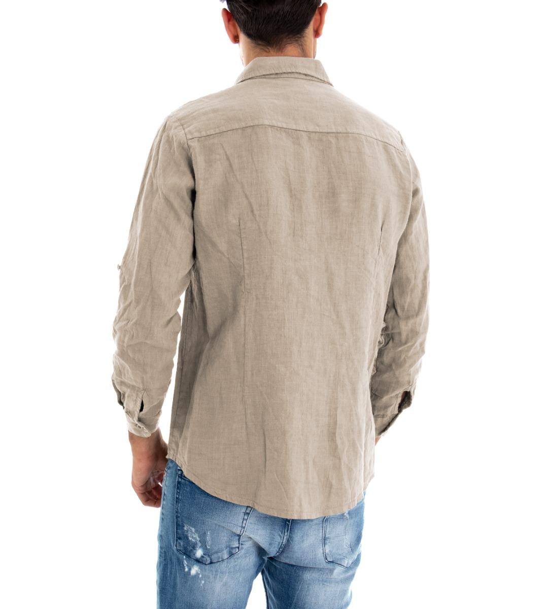 Camicia-Uomo-Lino-Maniche-Lunghe-Colletto-Tinta-Unita-Beige-GIOSAL miniatura 6