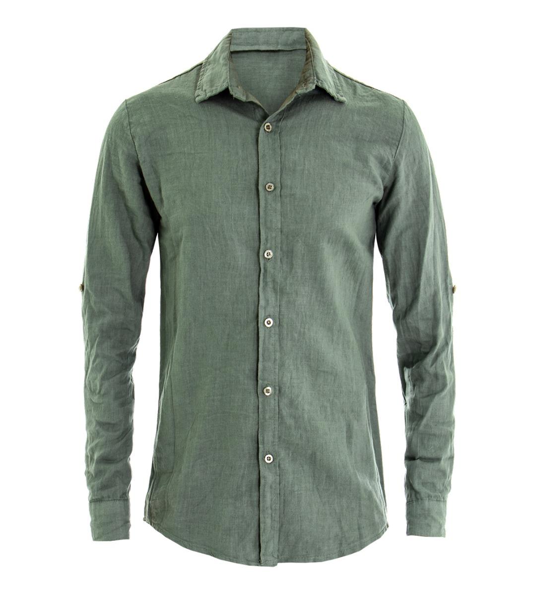 Camicia-Uomo-Lino-Maniche-Lunghe-Colletto-Tinta-Unita-Verde-GIOSAL