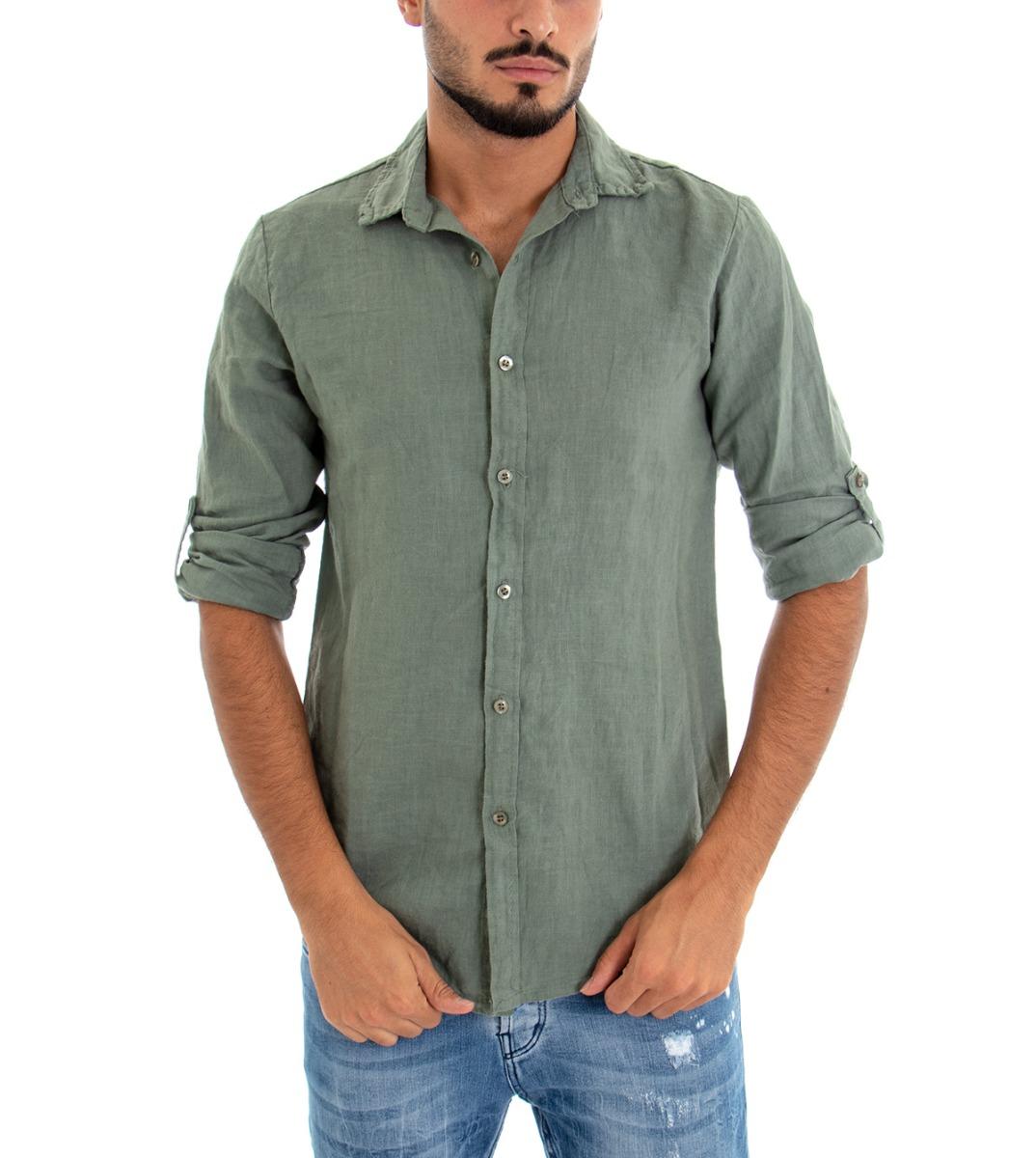 Camicia-Uomo-Lino-Maniche-Lunghe-Colletto-Tinta-Unita-Verde-GIOSAL miniatura 3