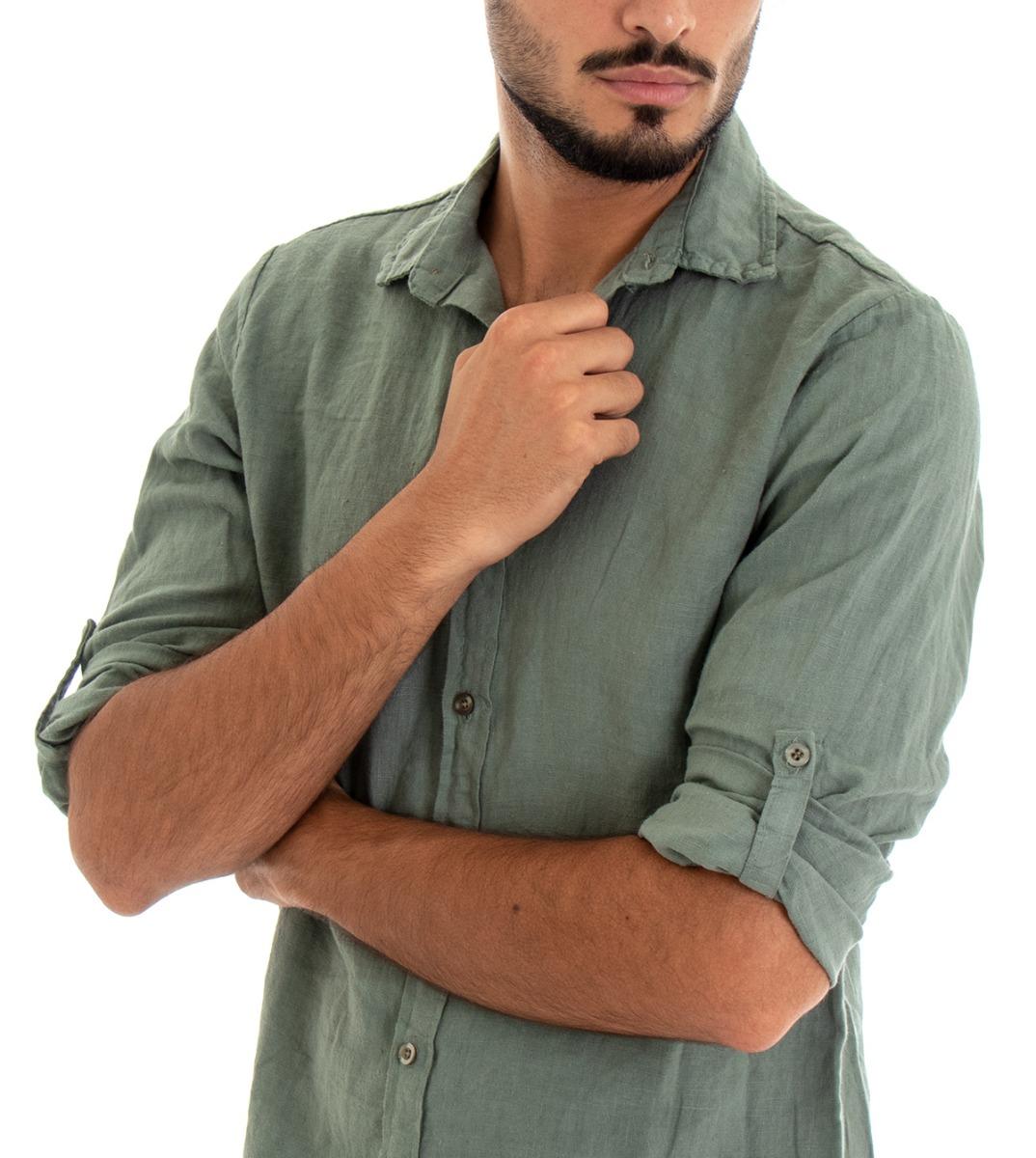 Camicia-Uomo-Lino-Maniche-Lunghe-Colletto-Tinta-Unita-Verde-GIOSAL miniatura 5