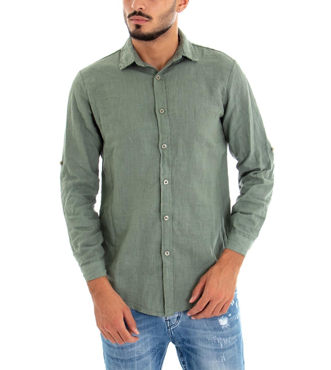 Camicia-Uomo-Lino-Maniche-Lunghe-Colletto-Tinta-Unita-Verde-GIOSAL miniatura 2