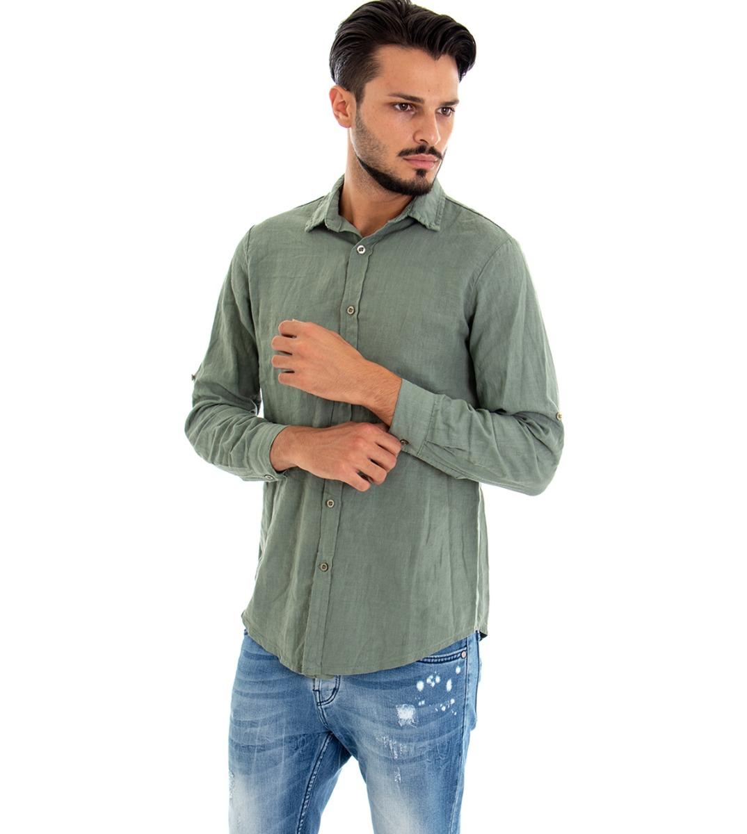 Camicia-Uomo-Lino-Maniche-Lunghe-Colletto-Tinta-Unita-Verde-GIOSAL miniatura 4