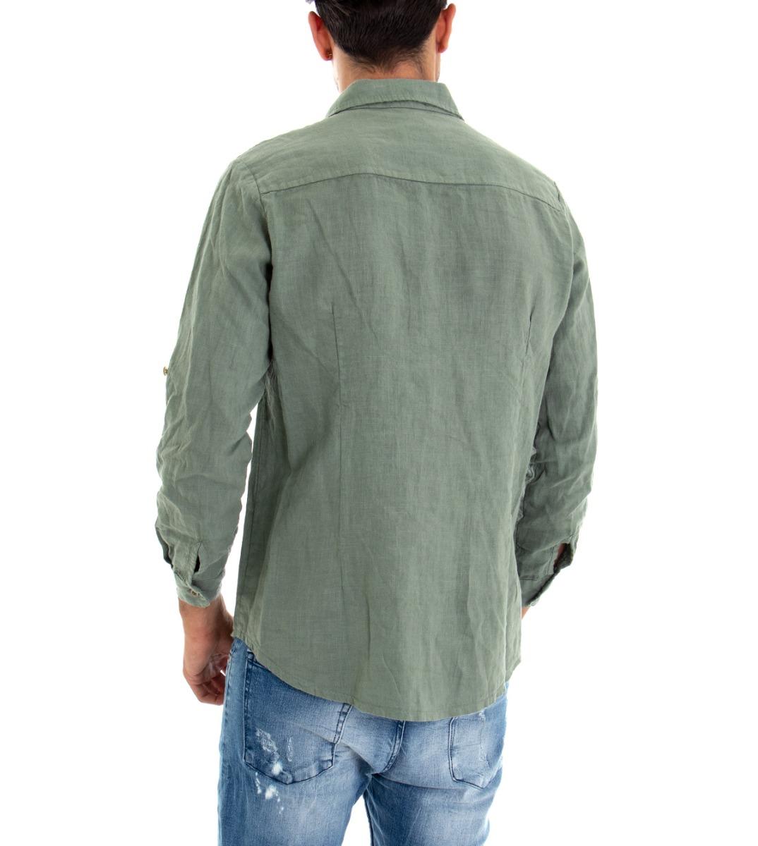 Camicia-Uomo-Lino-Maniche-Lunghe-Colletto-Tinta-Unita-Verde-GIOSAL miniatura 6