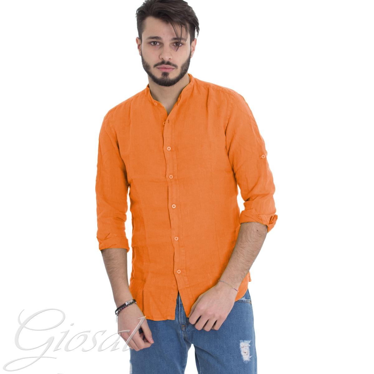 Camicia-Uomo-Collo-Coreano-Tinta-Unita-Arancione-Lino-Maniche-Lunghe-GIOSAL miniatura 7