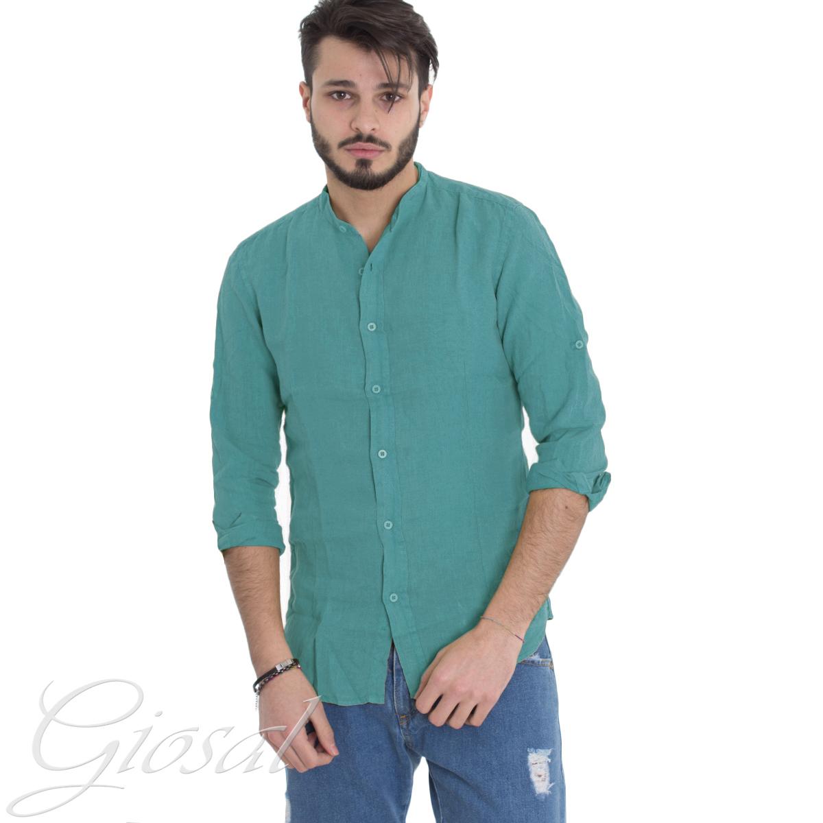 Camicia-Uomo-Collo-Coreano-Tinta-Unita-Verde-Petrolio-Lino-Maniche-Lunghe-GIOSAL miniatura 7