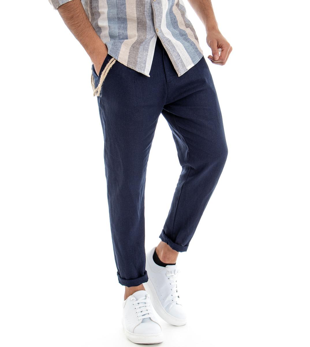 Pantalone-Uomo-Tinta-Unita-Blu-Tasca-America-Cavallo-Basso-Misto-Lino-Viscosa miniatura 2