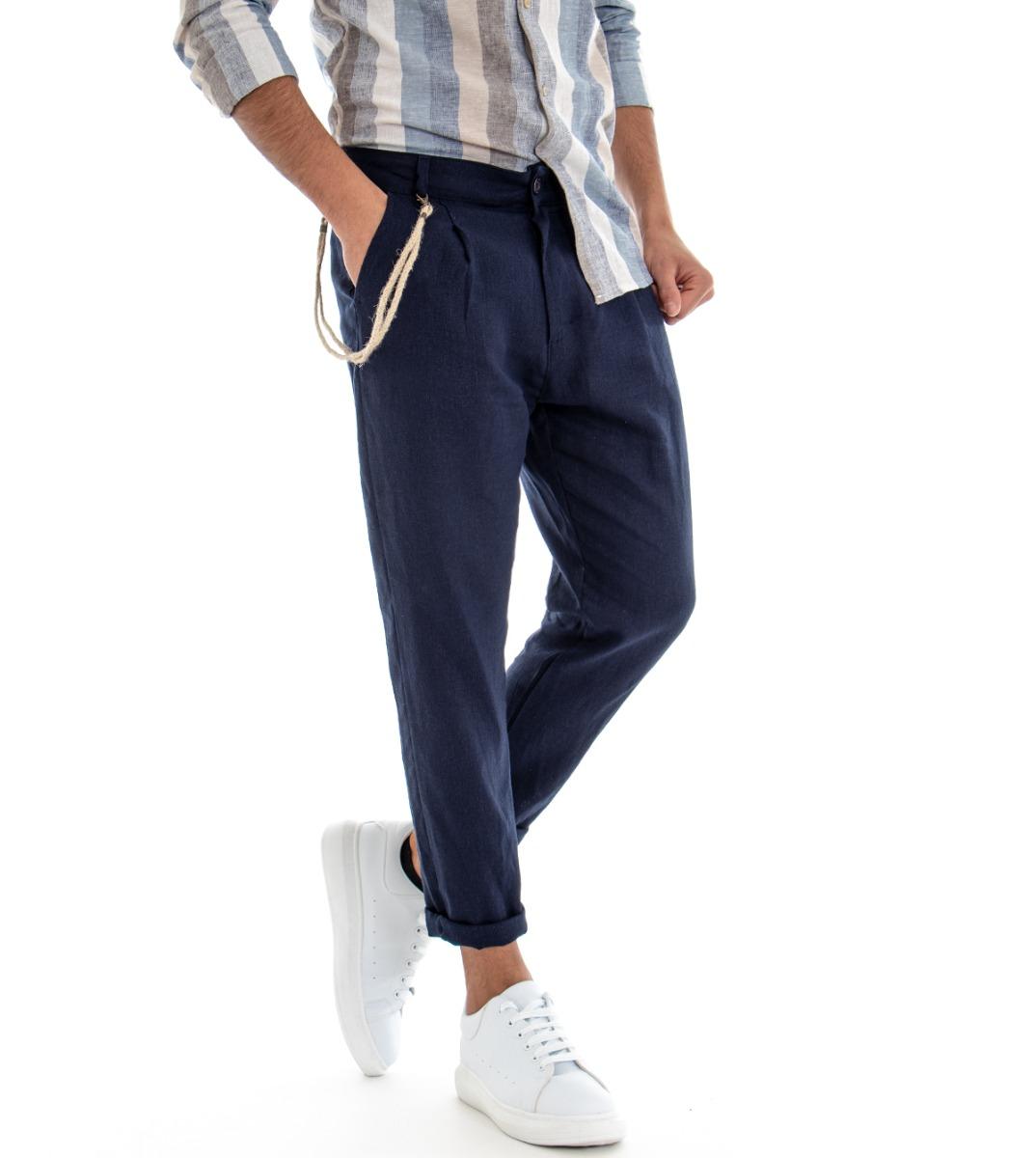 Pantalone-Uomo-Tinta-Unita-Blu-Tasca-America-Cavallo-Basso-Misto-Lino-Viscosa miniatura 3