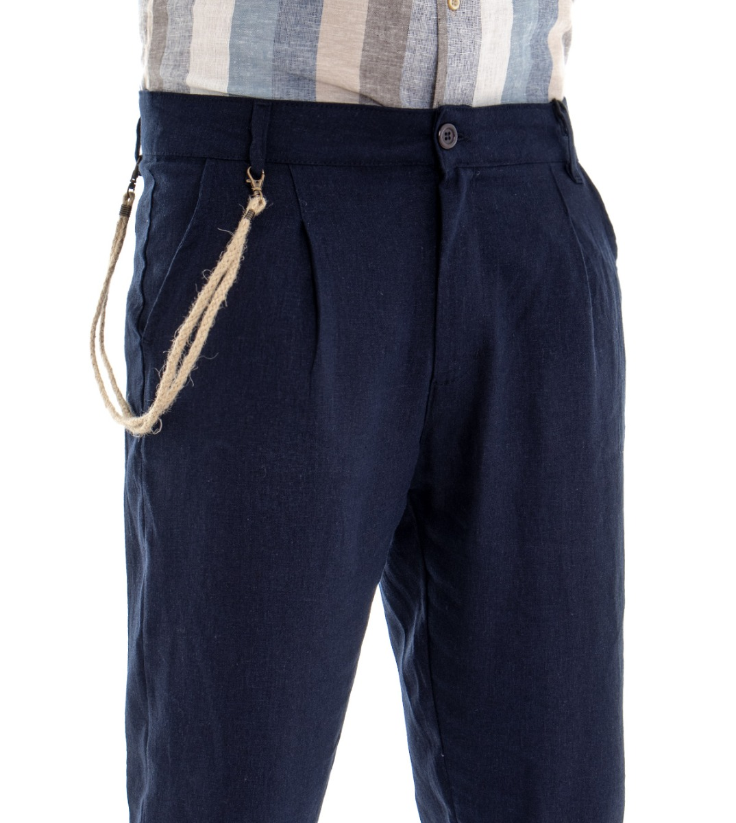 Pantalone-Uomo-Tinta-Unita-Blu-Tasca-America-Cavallo-Basso-Misto-Lino-Viscosa miniatura 4