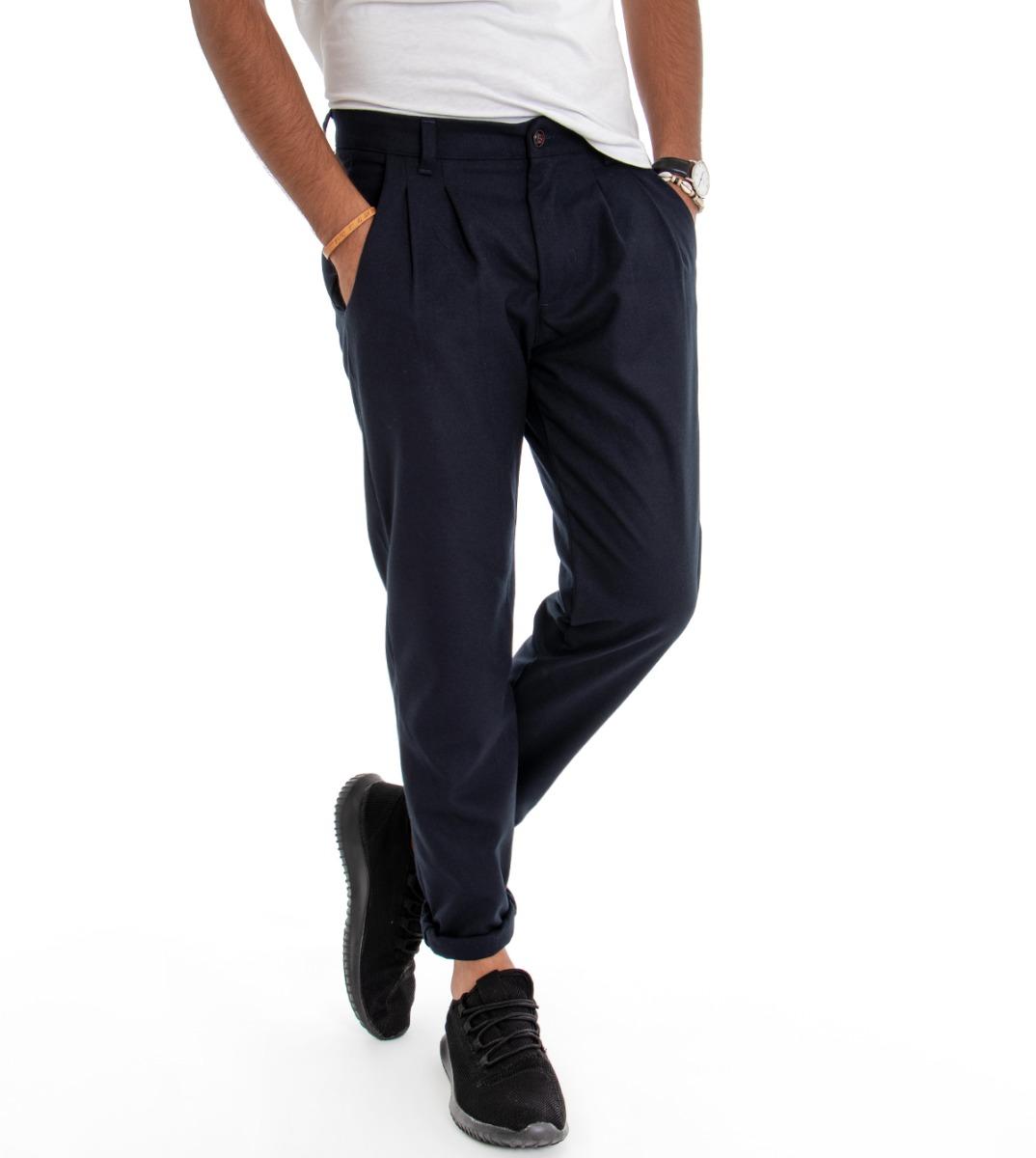 Pantalone-Uomo-con-Pence-Tasca-America-Blu-Tinta-Unita-Cavallo-Basso-Regular