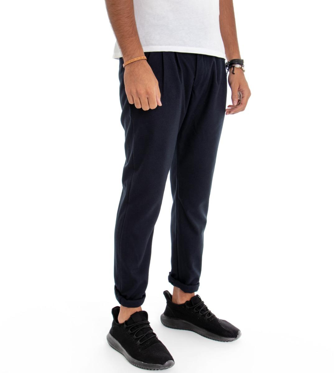 Pantalone-Uomo-con-Pence-Tasca-America-Blu-Tinta-Unita-Cavallo-Basso-Regular miniatura 2