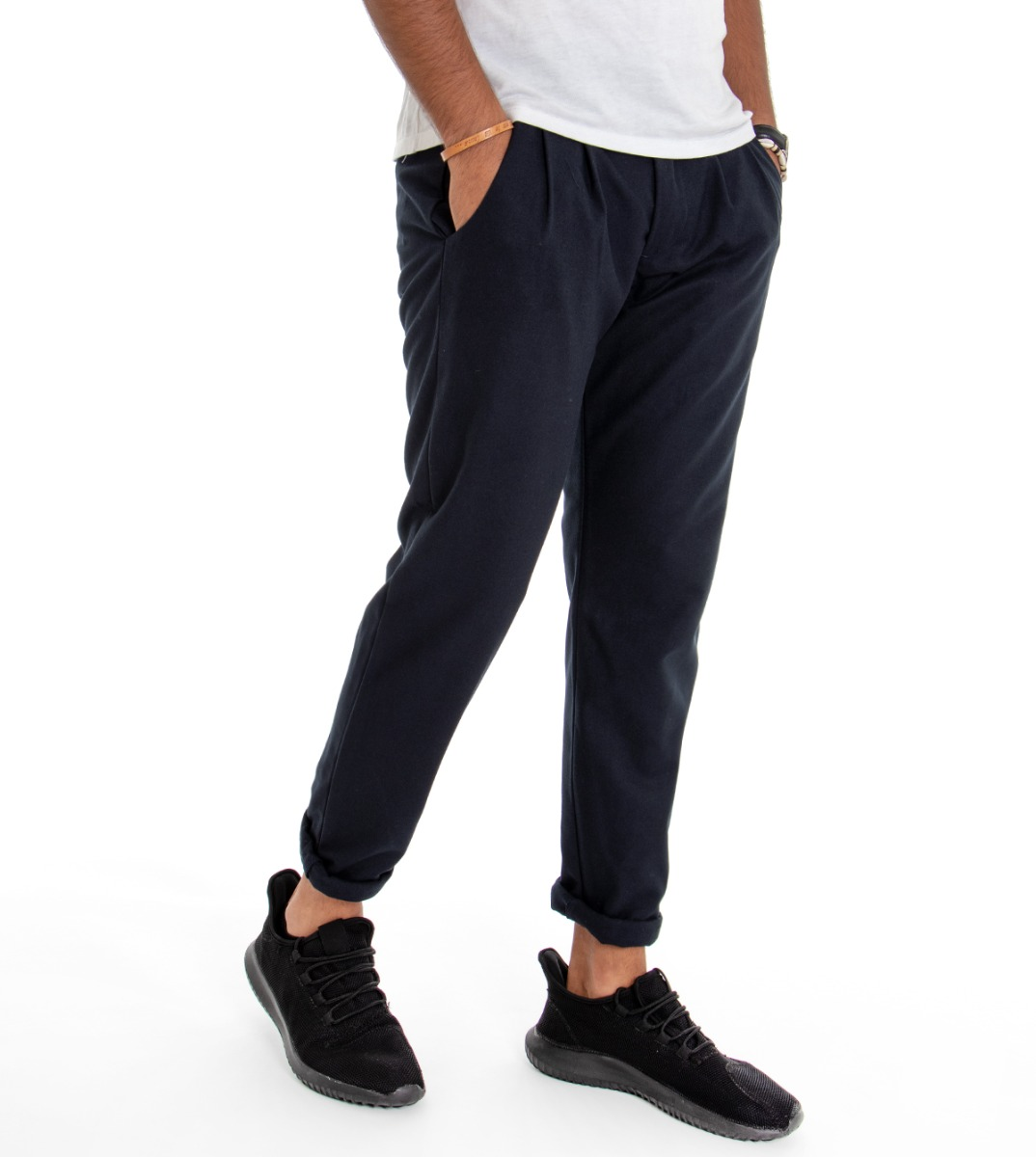 Pantalone-Uomo-con-Pence-Tasca-America-Blu-Tinta-Unita-Cavallo-Basso-Regular miniatura 4