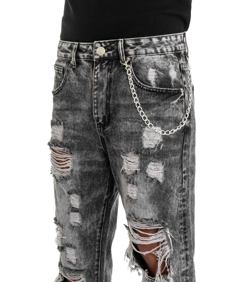 Pantalone-Uomo-Jeans-Grigio-Cinque-Tasche-Rotture-Cavallo-Basso-Strappato-Reg miniatura 9