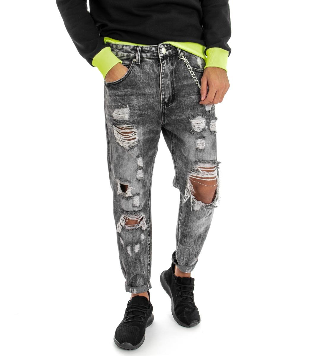 Pantalone-Uomo-Jeans-Grigio-Cinque-Tasche-Rotture-Cavallo-Basso-Strappato-Reg