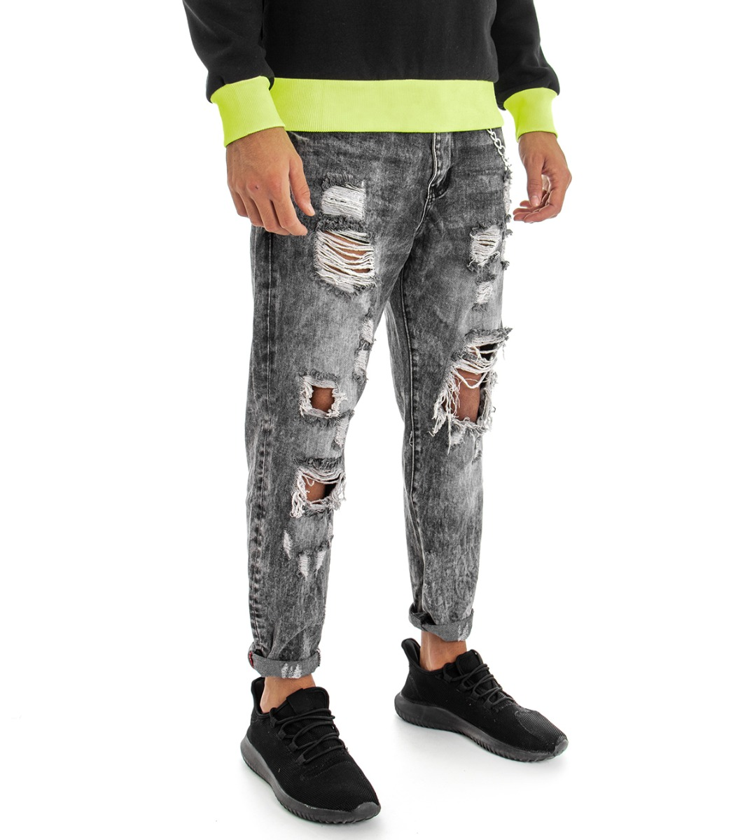 Pantalone-Uomo-Jeans-Grigio-Cinque-Tasche-Rotture-Cavallo-Basso-Strappato-Reg miniatura 3