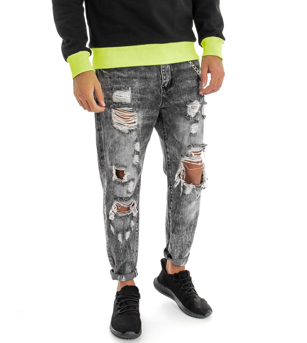Pantalone-Uomo-Jeans-Grigio-Cinque-Tasche-Rotture-Cavallo-Basso-Strappato-Reg miniatura 4