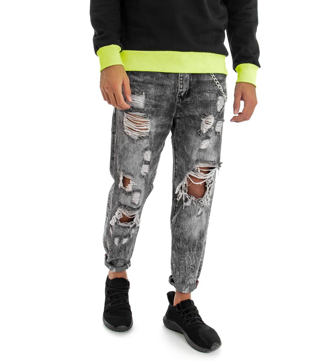 Pantalone-Uomo-Jeans-Grigio-Cinque-Tasche-Rotture-Cavallo-Basso-Strappato-Reg miniatura 5