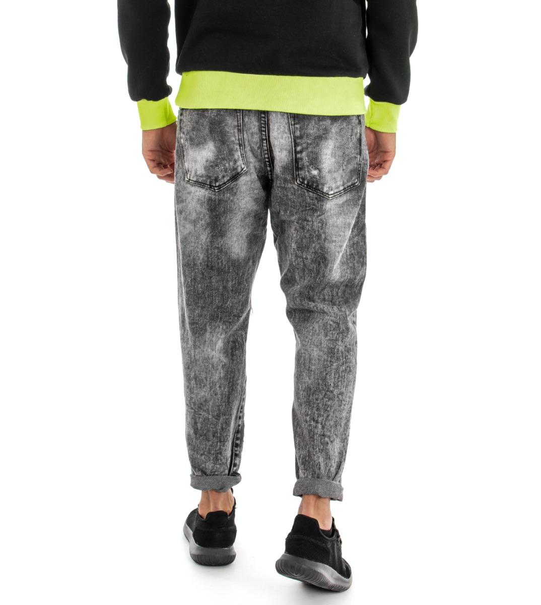 Pantalone-Uomo-Jeans-Grigio-Cinque-Tasche-Rotture-Cavallo-Basso-Strappato-Reg miniatura 7