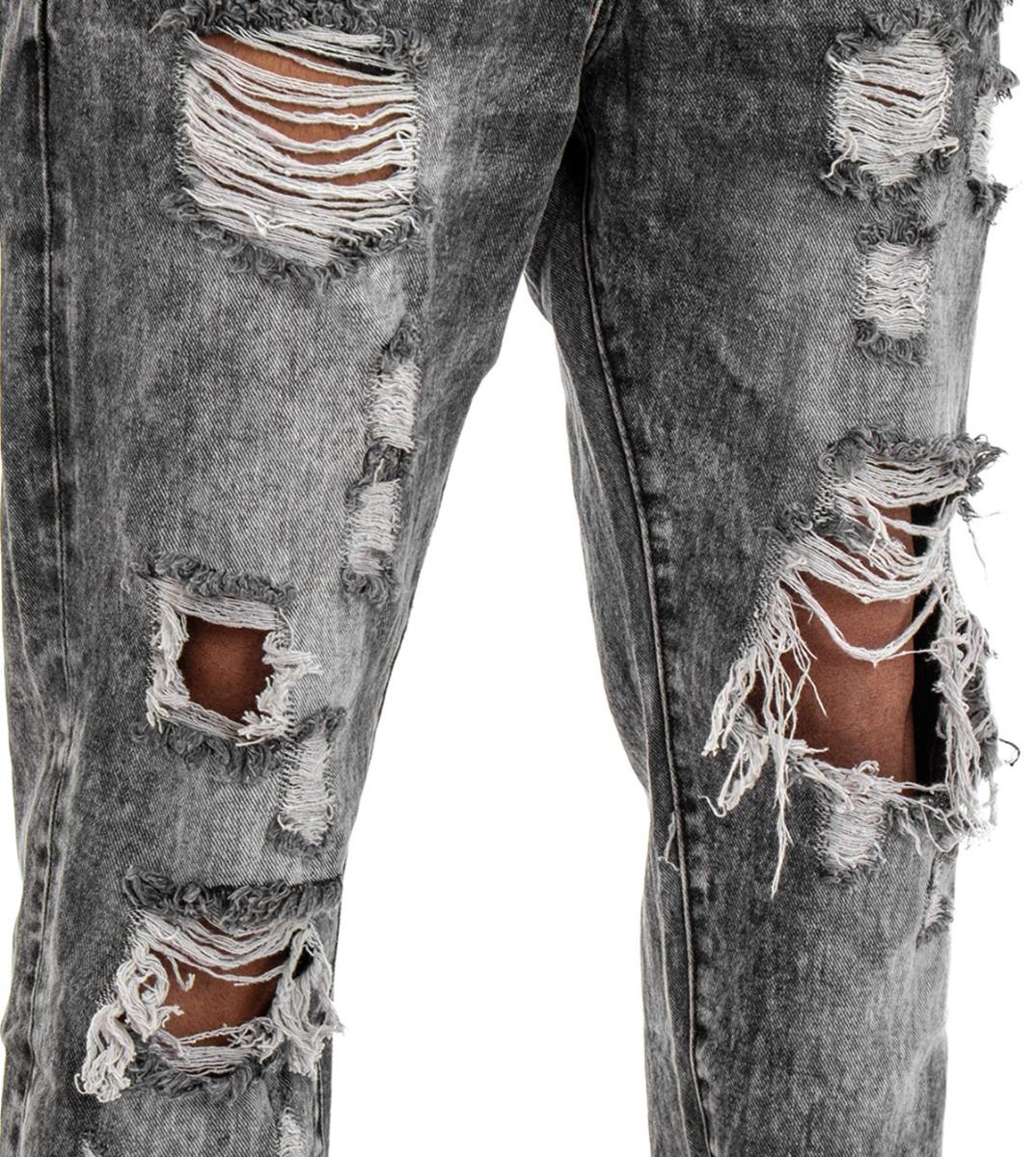Pantalone-Uomo-Jeans-Grigio-Cinque-Tasche-Rotture-Cavallo-Basso-Strappato-Reg miniatura 11