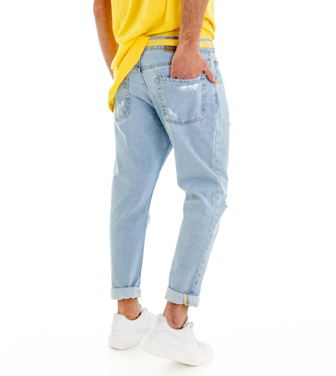 Pantalone-Denim-Chiaro-Uomo-Jeans-Cinque-Tasche-Con-Rotture-MOD-Cotone-GIOSAL miniatura 7
