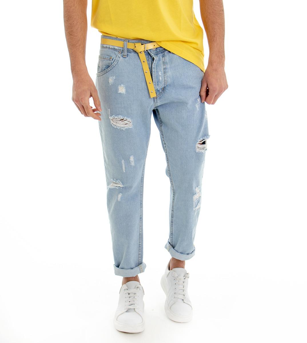 Pantalone-Denim-Chiaro-Uomo-Jeans-Cinque-Tasche-Con-Rotture-MOD-Cotone-GIOSAL miniatura 12