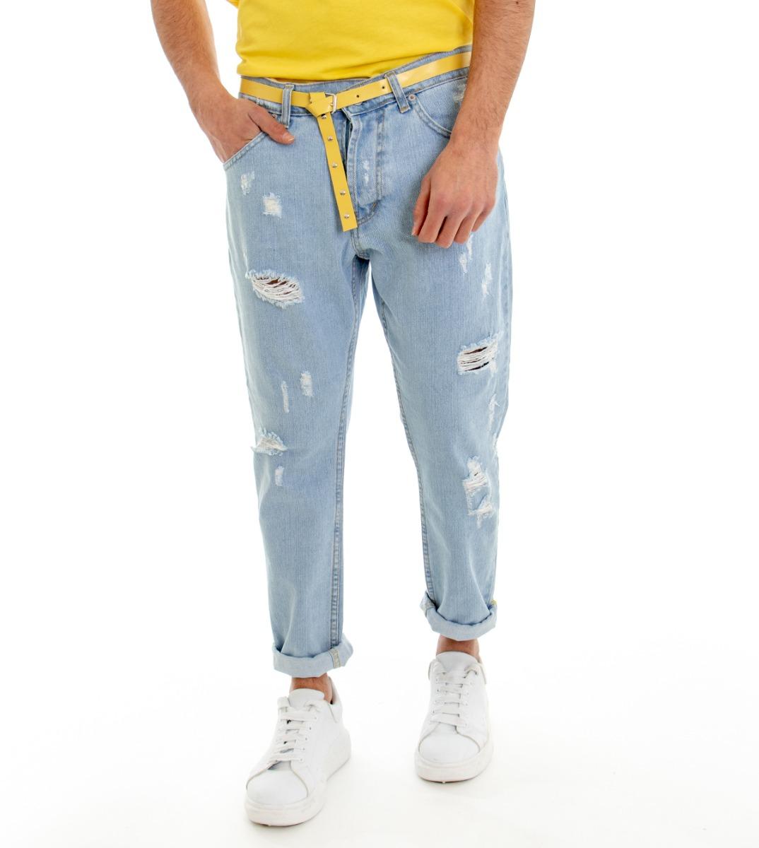 Pantalone-Denim-Chiaro-Uomo-Jeans-Cinque-Tasche-Con-Rotture-MOD-Cotone-GIOSAL miniatura 2