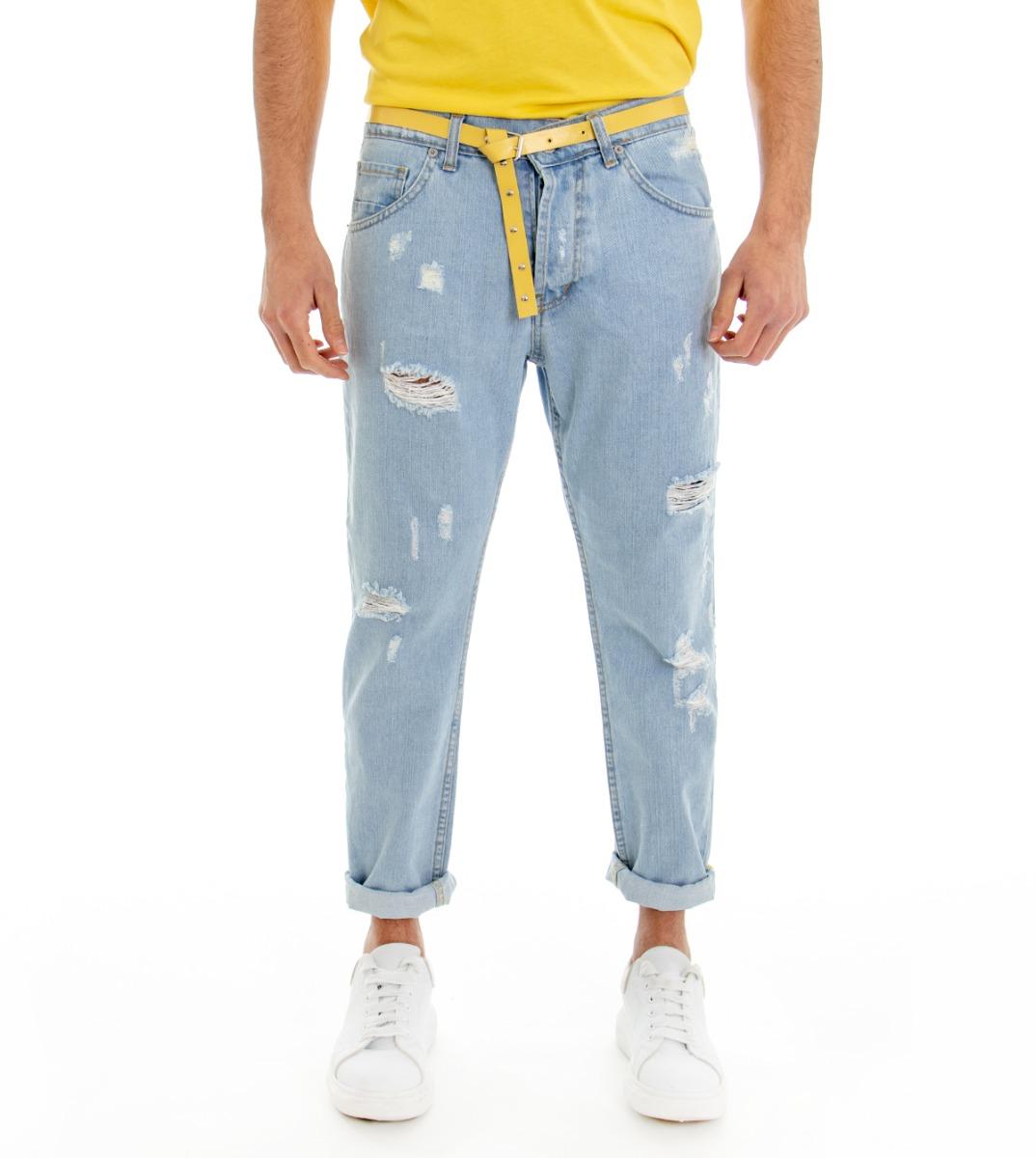 Pantalone-Denim-Chiaro-Uomo-Jeans-Cinque-Tasche-Con-Rotture-MOD-Cotone-GIOSAL miniatura 4